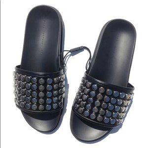 NWT Zara Black Studded Sandals Pool Slides 8